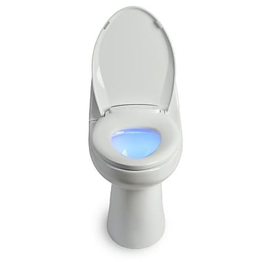 Brondell – Siège de toilette chauffant L60-EW LumaWarm avec veilleuse, allongé, blanc