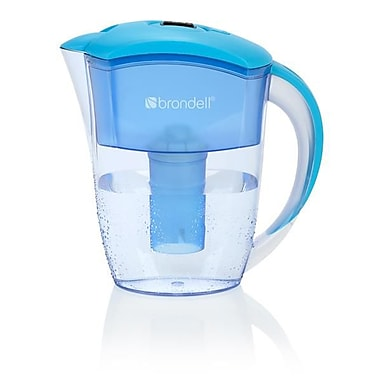 Brondell H10-B H2O+ Water Filtration Pitcher, 6-Cup, Blue/Clear