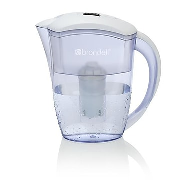 Brondell H10-W H2O+ Water Filtration Pitcher, 6-Cup, White/Clear
