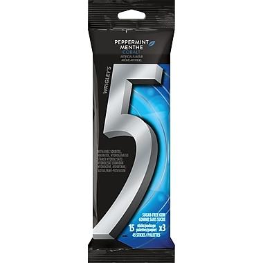 Wrigley 5 Gum Peppermint Cobalt Sugar-Free Chewing Gum, 3/Pack