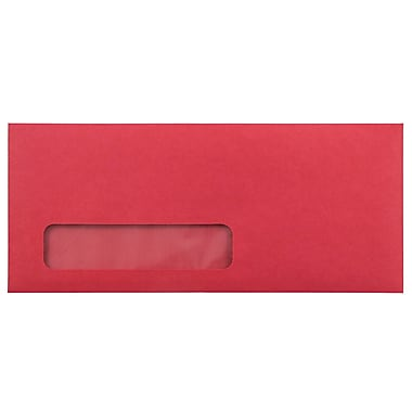 JAM Paper® #10 Window Envelopes, 4 1/8 x 9 1/2, Red Brite Hue Recycled, 1000/Pack