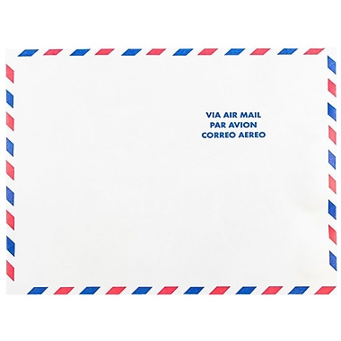 JAM Paper Tyvek Envelopes, 10 x 13 Open End, White Airmail, 50/Pack