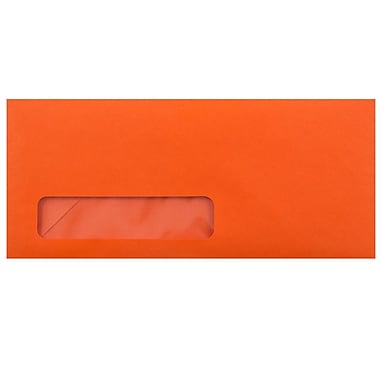JAM Paper Enveloppes fenêtres no 10, 4 1/8 x 9 1/2 po, orange recyclé Brite Hue, 1000/paquet
