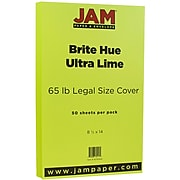 JAM Paper® Legal 65lb Colored Cardstock, 8.5 x 14 Coverstock, Ultra Lime Green, 50 Sheets/Pack (16730929)
