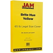JAM Paper® Legal 65lb Colored Cardstock, 8.5 x 14 Coverstock, Yellow Recycled, 50 Sheets/Pack (16730930)