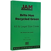 JAM Paper® Legal 65lb Colored Cardstock, 8.5 x 14 Coverstock, Green Recycled, 50 Sheets/Pack (16730936)
