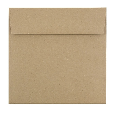 JAM Paper® 6.5 x 6.5 Square Envelopes, Brown Kraft Paper Bag Recycled, 250/Pack