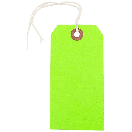 JAM Paper® Gift Tags with String, Medium, 4 3/4 x 2 3/8, Neon Green, 10/Pack (91931037)