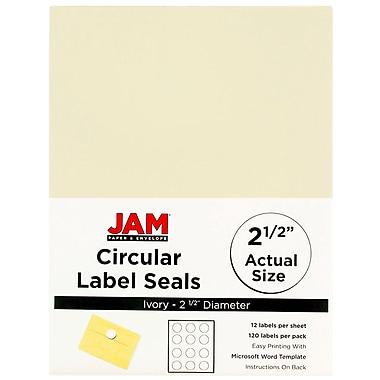 JAM PaperMD – Sceaux autocollants ronds, 2,5 po dia., ivoire, 120/paquet