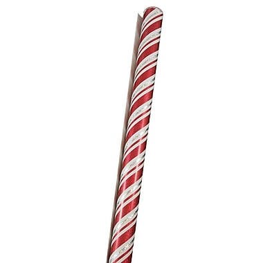 JAM Paper® Christmas Wrapping Paper, Sparkling Red & White Candy Cane Stripe, 25 Sq Ft (165530946)
