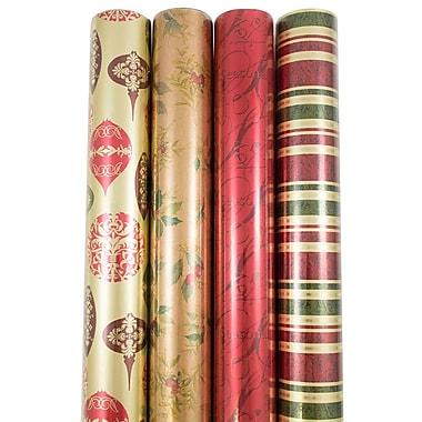 JAM PaperMD – Assortiment de papier d'emballage de Noël de haute qualité, papier d'emballage de Noël antique, 180 pi2, 4/paquet