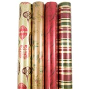 JAM Paper® Premium Christmas Gift Wrap Assortment, Antique Christmas Wrapping Paper, 180 Sq Ft, 4/Pack