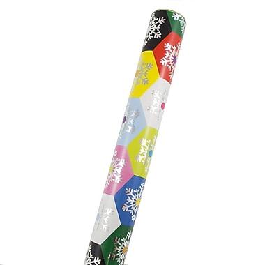JAM PaperMD – Papier d'emballage de Noël, flocons de neige colorés en forme de nid d'abeille, 22,5 pi2, 2/paquet