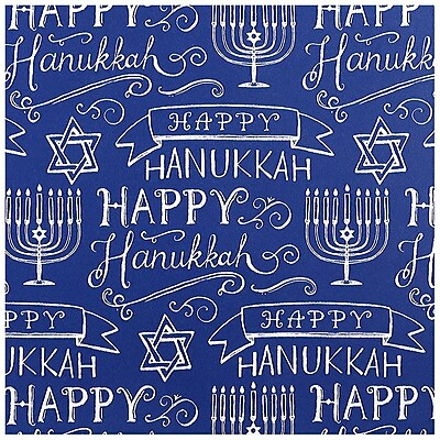 JAM Paper Holiday Wrapping Paper, Blue Happy