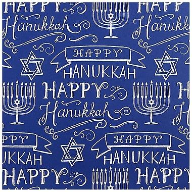 JAM PaperMD – Papier d'emballage pour les fêtes, conception bleu Joyeux Hanoucca, 14,5 pi2, 2/paquet