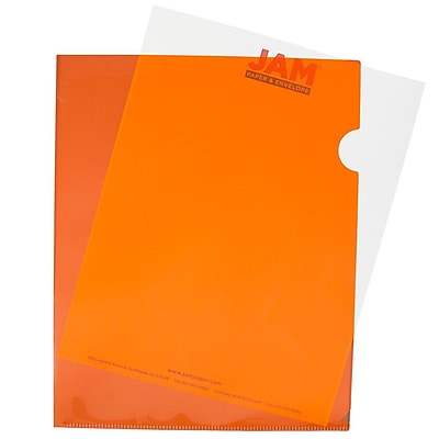 JAM Paper® Plastic Sleeves, 9 x 11 1/2, Orange, 12/pack (226330937)