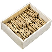 JAM Paper® Wood Clip Clothespins, Medium 1 1/8 Inch, Gold Clothes Pins, 50/Pack (230731033)