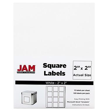 JAM PaperMD – Étiquettes d'adresses carrées, 2 x 2 po, blanc, 240/paquet