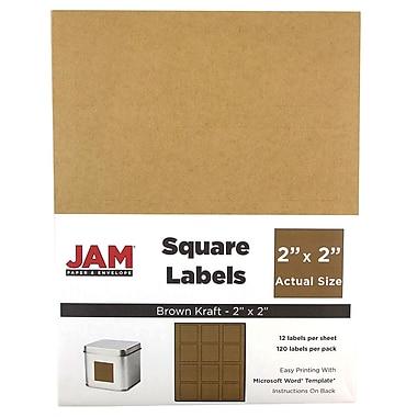JAM PaperMD – Étiquettes carrées d'adresses, 2 x 2 po, brun kraft, 240/paquet