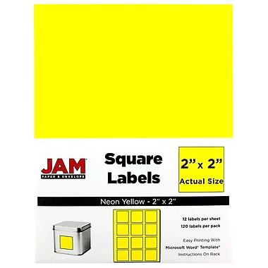 JAM PaperMD – Étiquettes d'adresses carrées, 2 x 2 po, jaune néon, 240/paquet