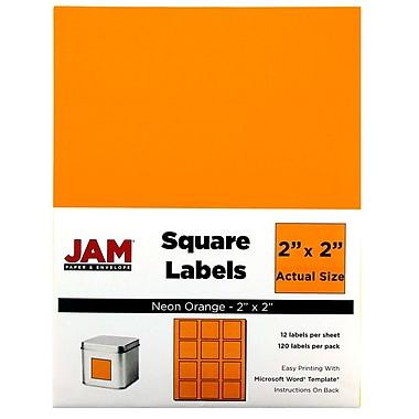 JAM PaperMD – Étiquettes postales carrées, 2 x 2 po, orange néon, 240/paquet