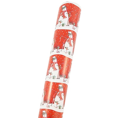 JAM Paper® Christmas Wrapping Paper, Double Sided Mega Jumbo Roll, Snowman Scene & Red Snowflakes, 366 Sq. Ft (368231256)
