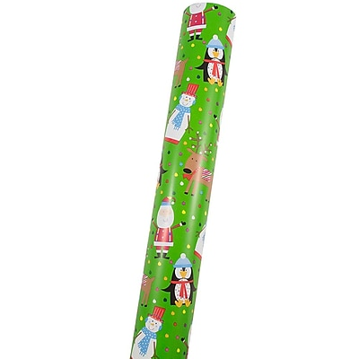 JAM Paper® Premium Christmas Wrapping Paper, Double Sided Mega Jumbo Roll, Merry Penguins & Friends, 366 Sq. Ft.368231272)
