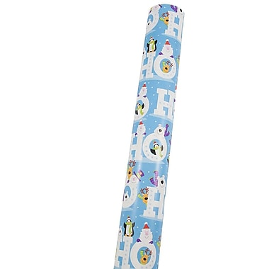 JAM Paper® Premium Christmas Wrapping Paper, Double Sided Mega Jumbo Roll, Ho Ho Ho w/ Animated Characters, 366 Sq Ft