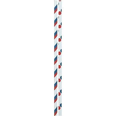 JAM PaperMD – Pailles en papier colorées, rayures et pois bleu, rouge et blanc, 48/paquet