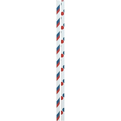 JAM Paper® Color Paper Straws, Red, White, Blue Stripes and Dots, 24/Pack (52662006957)