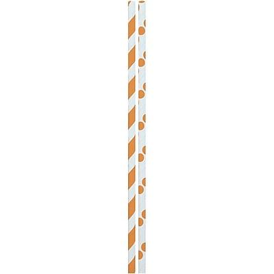 "24 Pack Black Orange Spiral Striped Halloween Party 9.75/"" L Paper Straws"