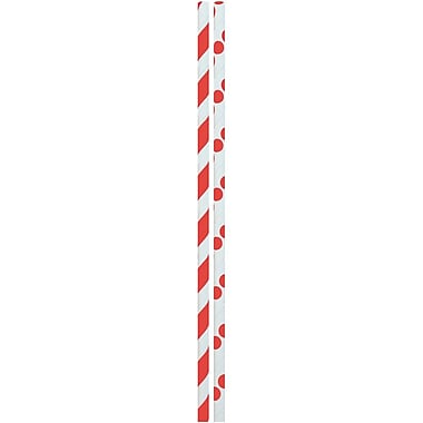 JAM Paper® Colour Paper Straws, Red Stripes and Dots, 48/Pack