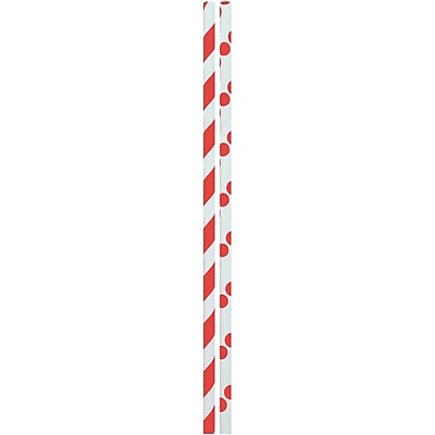 JAM Paper® Color Paper Straws, Red Stripes and Dots, 24/Pack (52662006960)