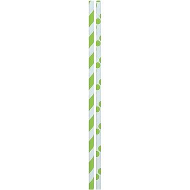 JAM PaperMD – Pailles colorées en papier, rayures et pois vert lime, 48/paquet