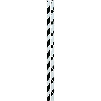 JAM Paper® Color Paper Straws, Black Stripes and Dots, 24/Pack (52662006964)