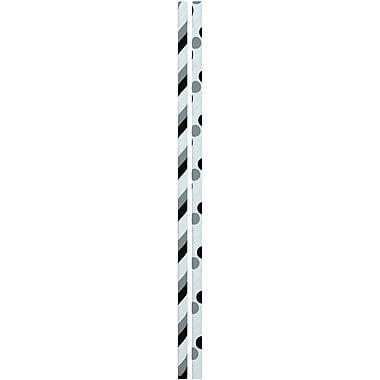 JAM PaperMD – Pailles colorées en papier, rayures et pois noirs et gris, 48/paquet