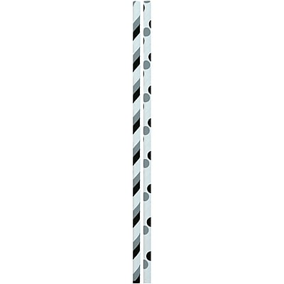 JAM Paper® Color Paper Straws, Black Gray Stripes and Dots, 24/Pack (52662006998)