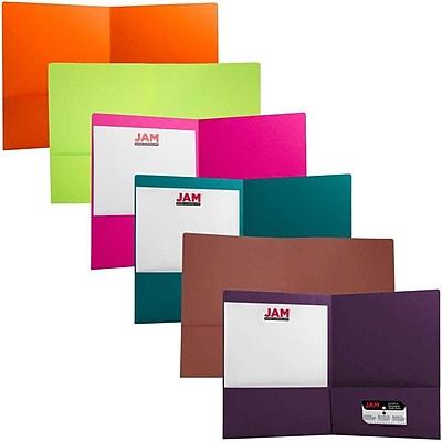 JAM Paper® 2 Pocket Matte Cardstock School Presentation Folders, Assorted Fashion Colors, 6/pack (166628Fassrt)