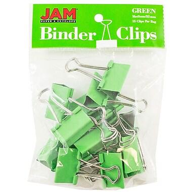 JAM PaperMD – Pinces relieuses, moyennes, 1,25 po/32 mm, vert, 30/paquet