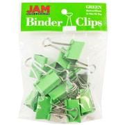 """JAM Paper® Binder Clips, Medium, 1.25""""/32mm, Green, 15/Pack (339BCGR)"""