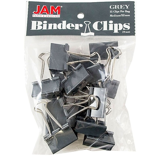 JAM Paper® Colorful Binder Clips, Medium, 1 1/4 Inch (32mm), Grey  Binderclips, 15/Pack (339BCGY)
