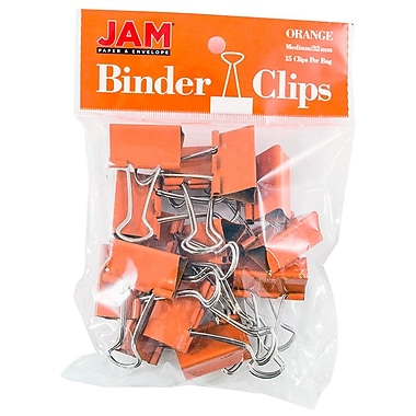 JAM PaperMD – Pinces relieuses, moyennes, 1,25 po/32 mm, orange, 30/paquet