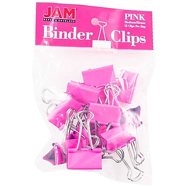 JAM PaperMD – Pinces relieuses, moyennes, 1,25 po/32 mm, rose, 30/paquet