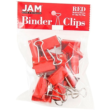 JAM PaperMD – Pinces relieuses, moyennes, 1,25 po/32 mm, rouge, 30/paquet
