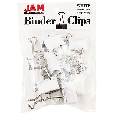JAM PaperMD – Pinces relieuses, moyennes, 1,25 po/32 mm, blanc, 30/paquet