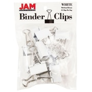 "JAM Paper® Colored Binder Clips, Medium, 1.25""/32mm, White, 15/Pack (339BCWH)"