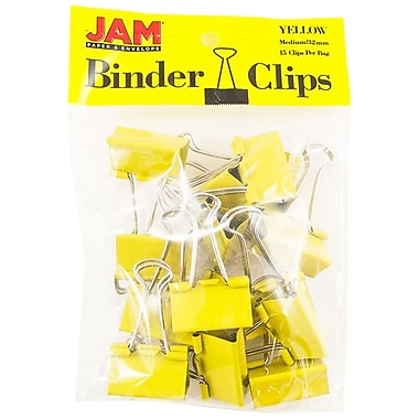 JAM PaperMD – Pinces relieuses, moyennes, 1,25 po/32 mm, jaune, 30/paquet