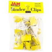 "JAM Paper® Colored Binder Clips, Medium, 1.25""/32mm, Yellow, 15/Pack (339BCYE)"