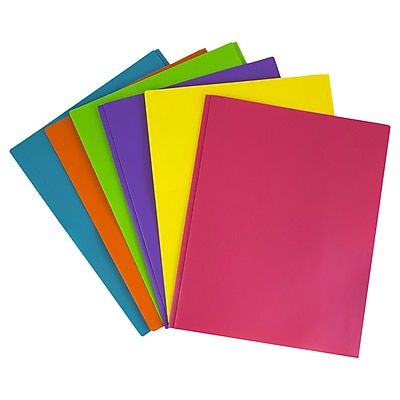 JAM Paper® Plastic 2 Pocket Eco School Folders with Metal Tang Fastener Clasps, Assorted Fashion Colors, 6/Pack (382ECFASSRT)