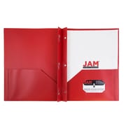 JAM Paper® Plastic 2 Pocket Pop School Folders with Metal Prong Fastener Clasps,Red, 6/pack (382ECredd)